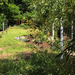 Aperçu de Totem-Haïkus en acier brut oxydés & thermolaqués à l'Atelier-Jardin, Montlignon. Mai 2017