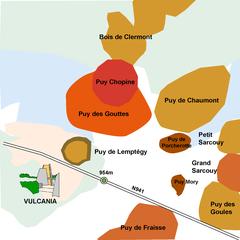 """d'après la carte du fascicule """"Volcanologie de la Chaîne des Puys"""" ed 2017"""