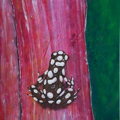 Frosch auf Bromelie, Acryl auf Leinwand, 50x60cm, 2014