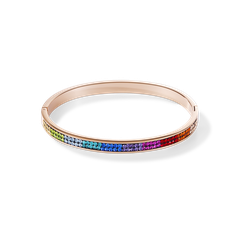 0214331500   |   Armreif Edelstahl rosegold & Kristalle Pavé multicolor