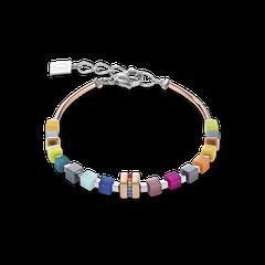 5009301500   |   Armband GeoCUBE® Edelstahl roségold & Kristall Pavé multicolor