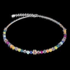 5009101500   |   Halskette GeoCUBE® Edelstahl roségold & Kristall Pavé multicolor
