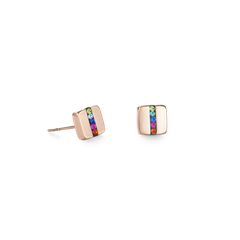 0225211500   |   Ohrringe Edelstahl Quadrat roségold & Kristall Pavé Streifen multicolor