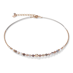 4992101012   |   Halskette Kugel Botswana Achat & Edelstahl roségold beige-grau