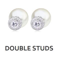 Doppelseitig tragbare Ohrstecker (Double Studs, Double Face Ohrringe) von My Bijouterie. Die Ohrringe können je nach Lust und Laune beidseitig getragen werden. Die meisten Ohrringe haben auf der einen Seite ein üppige Perle.