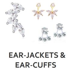 Modische Ear-Jackets und Earcuffs jetzt bei My Bijouterie. Earjackets und Cuffs mit eingearbeiteten Zirkonias, weiss- oder gelbvergoldet.