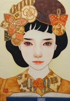「おぼろ月」  雲肌麻紙に岩絵具、水干絵具、墨、顔彩 P3
