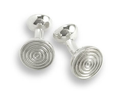 silber Manschettenknöpfe wellen ringe kreise round cufflinks circles rings