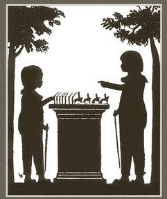 Prinz Wilhelm und Prinz Friedrich Wilhelm spielen mit Zinnfiguren / Potsdam 1803
