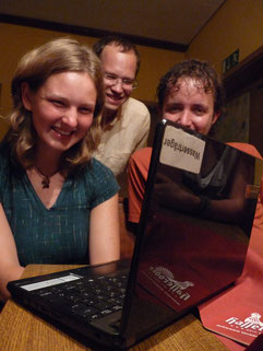 Svana, Alex und Marco beim Skypen mit Umweltschützern aus Sri Lanka