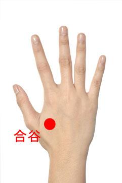 手のツボ、合谷。肩こり・五十肩・腱鞘炎に効果的です。浦安駅で整体マッサージを行っている整体院+nicoです。