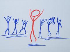 Bild zu Baustein Motivation im Führungskräftetraining Fit for Leadership, springende Strichmännchen