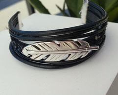 PLUME - Bracelet cuir, bracelet rock, bracelet chic, bracelet plume, bracelet noir, bracelet paillettes noires