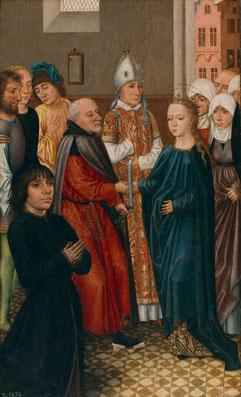 Maestro de la leyenda de Santa Catalina, Bruselas,1470-1500.Tríptico portátil de los desposorios de la Virgen (Anverso).Óleo sobre tabla.45x29cm.Legado P.Bosch