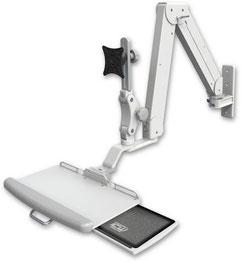 モニターアーム, ELP5220シリーズ, ELP5220-WT-KUP, ロングアーム 昇降式アーム VESAマウント ウォールマウント ガススプリング  ディスプレイキーボード用アーム