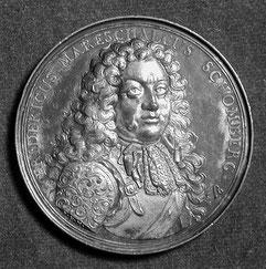 Gedenkmedaille zum Soldatentod Schonbergs 1690