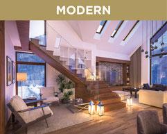 Ferienwohnung im Stil MODERN. Hier wohnen sie mit klaren Formen, zeitlosen Farben und hochwertigen Materialien. Der elegante Stil ist kombiniert mit einer hochwertigen Inneneinrichtung, besticht mit einer klaren Optik und vornehmer Zurückhaltung.