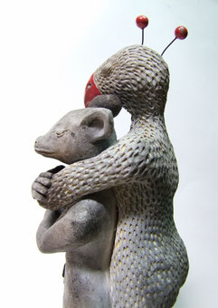 statue hybride en céramique raku