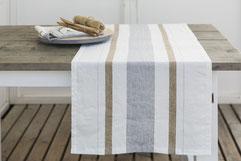 Chemin de table à rayures Giulia 54 x 150 cm 100% lin