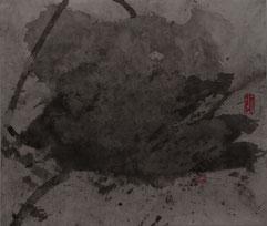 荷花50 LOTUS 50 39X46CM 纸本水墨与矿物色 INK & MINERAL COLOR ON PAPER 2004 (收藏于上海 COLLECTED IN SHANGHAI)