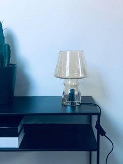 lampe en verre, table lamp glass, glass brown lamp Leitmotiv