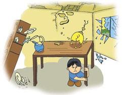 Bajo la mesa estarás protegido de todo lo que caiga (www.terremotos.org)