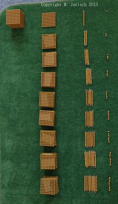 Goldene Perlen Stellenwerte / Material: Montessori Lernwelten