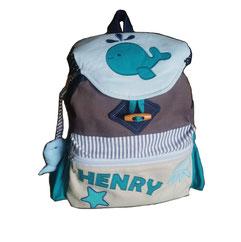 Rucksack mit Wal und Namen für Kinder