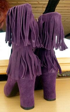 Lila Halbstiefel violette Stiefeletten Blockabsatz Größe 39 Fransen