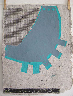 """o.T"" 2011 linocut on handmade paper"