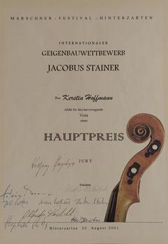 """Klangpreis für Viola beim Intern. Geigenbauwettbewerb """"Jacobus Stainer"""" Freiburg 2001"""