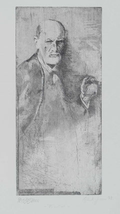 Druckgrafik Sigmund Freud stehende Pose