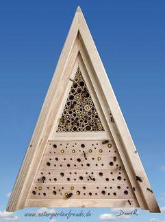 Insektenhotel Insektennisthilfe Jürgen Schwandt Bohrungen im Hartholz Schilfhalme