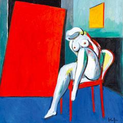 Kornberger Alfred, Akt auf rotem Stuhl - galerie artziwna
