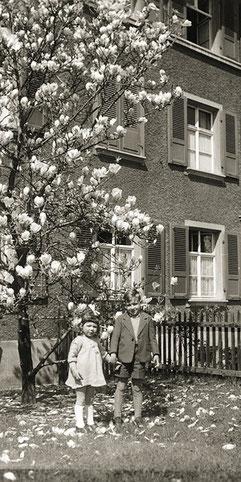 Idylle unter dem Magnolienbaum in der Birssiedlung.