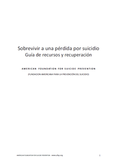 Fundación Americana para la Prevención del Suicidio. Sobrevivir a una pérdida por suicidio.