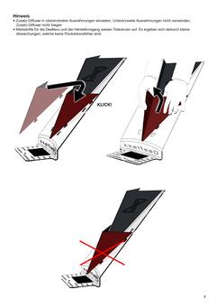 Gebrauchsanweisung eines Schalldiffusers. Grafiken in Graustufen mit Highlightfarben und Richtungspfeilen