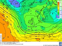 Höhenwetterkarte einer südlichen Westlage. | Bildquelle: Deutscher Wetterdienst