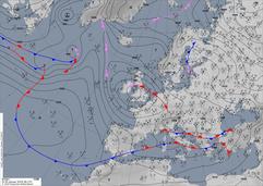 Bodenwetterkarte einer südlichen Westlage. | Bildquelle: Deutscher Wetterdienst