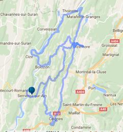 Pour les motards, carte de la balade moto proposé par Le Gite De Giron, Monts Bertiand