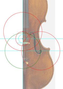 fhole positioning cremonese violin guarneri del gesu - geometrische analyse im geigenbau - konstruktion italienische geigen f-loch positionierung - instrumentenkonstruktion - geigenkonstruktion - amati inch - 18,66 mm