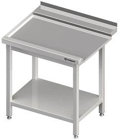Edelstahl - Arbeitstisch in der Küche mit Nirostaschränke
