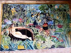 pannello di ceramica, con mattonelle ognuna è di 20 cm per 20 cm.misure 40 x 60 pezzo unico  Omaggio Henri_Rousseau il sogno