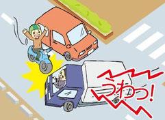 イラストは「自分で気づこう!!出会い頭事故の危険」より