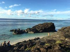 Black Rock Rarotonga, Basalt Rock Formation in lagoon