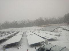 太陽光発電所の雪