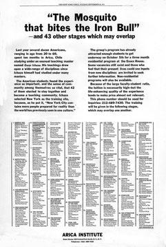 Ichazo - Zeitungsinserat 1971 in der New York Times