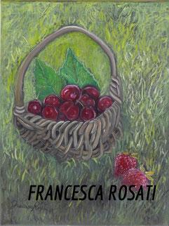 canestra di ciliege e fragole sul prato, olio su tela, 30x40 cm , 2014