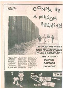 Artikel uit een fanzine over het optreden van de Upstarts in de gevangenis