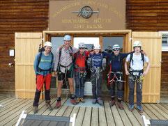 Ankunft an der Mischabelhütte nach einem Aufstieg von über 1500 Hm